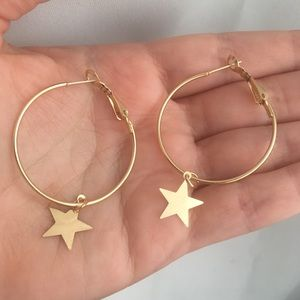 Gold Tone hoops with dangle stars